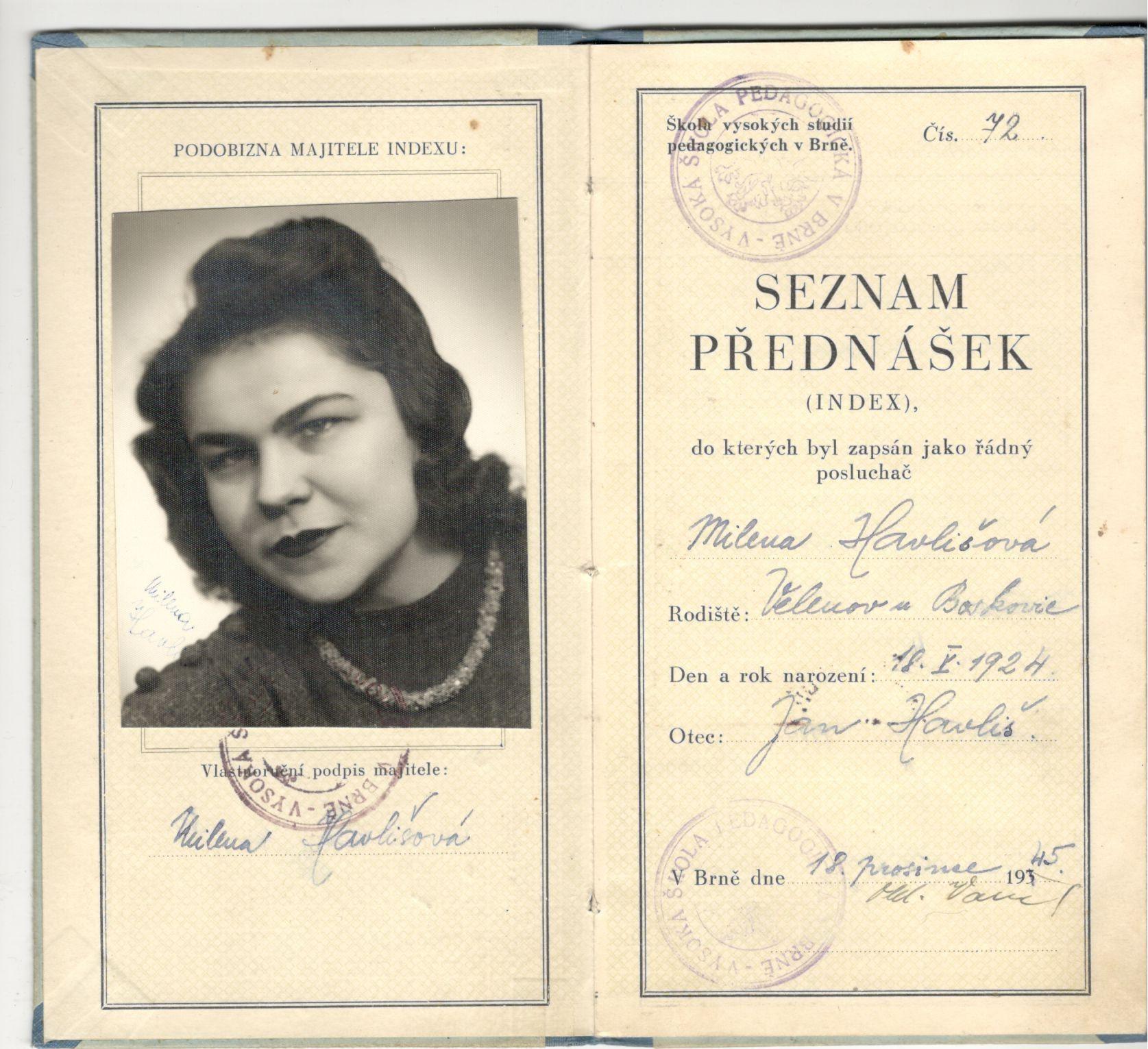 Seznam přednášek (index) - Škola vysokých studií pedagogických v Brně