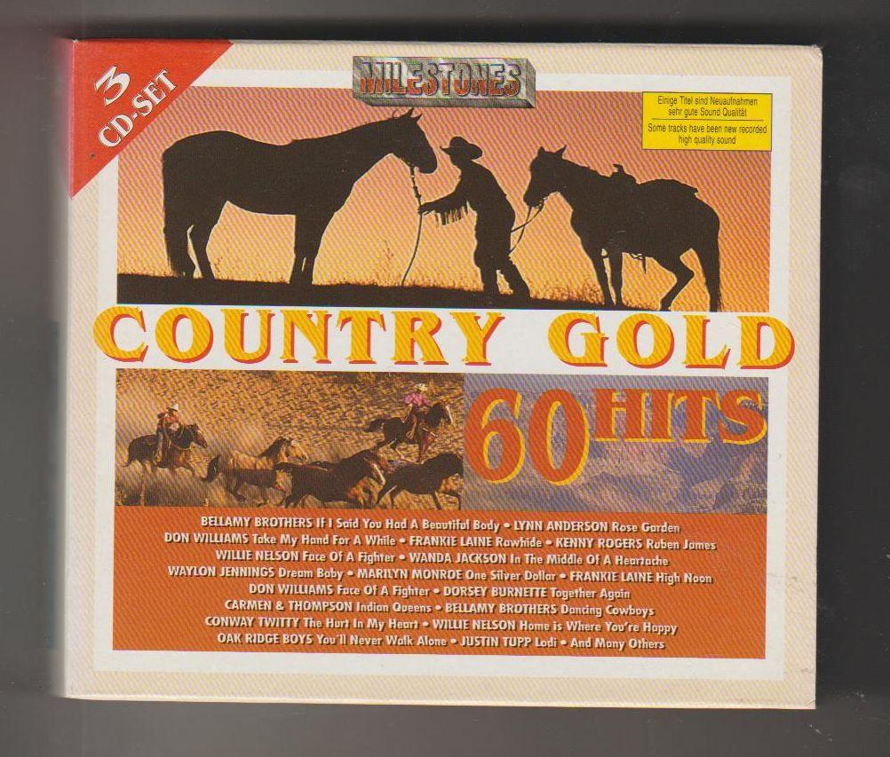Country gold 60 Hits - soubor 3 CD - 60 hitů - perfektní stav! (písničky viz foto)