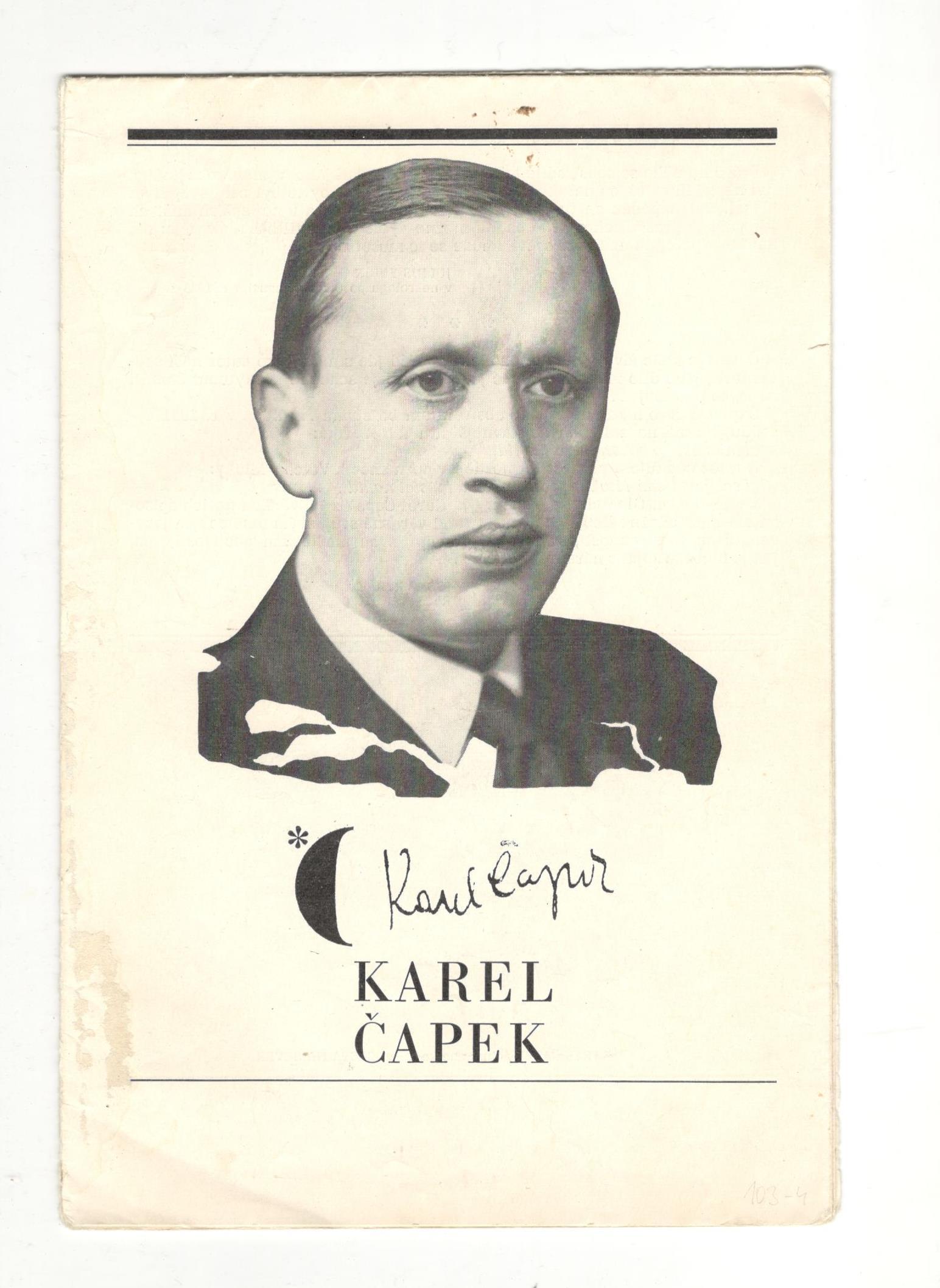 Karel Čapek - medailónek o autorovi - noviny na stěnu č. 4