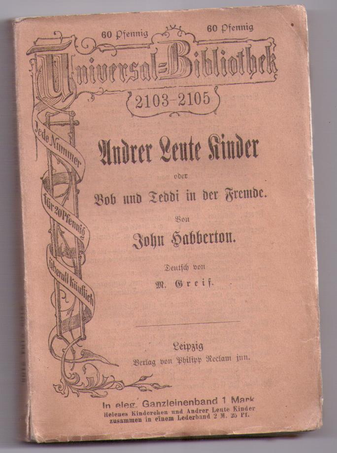 Under Leute Kinder - John Habberton (německy)