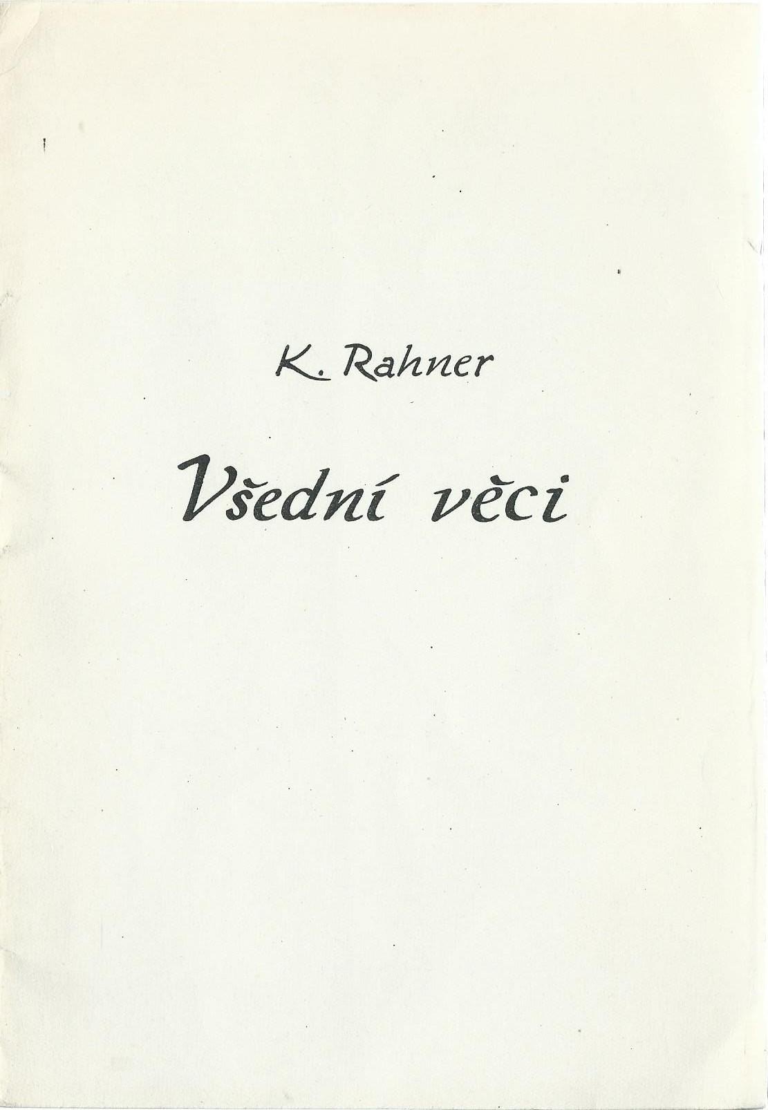 Všední věci - Karl Rahner